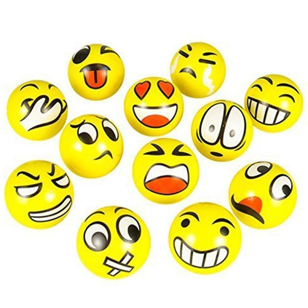 """Set of 6 Assorted Big Happy Face Fun Emoji Hand Wrist Finger Exercise Stress Relief Therapy Squeeze Balls 2"""" diameter size BY TM, SET OF 6 EMOJI.., By DISCOUNT PARTY AND NOVELTY"""