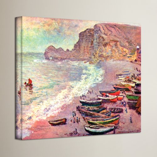 Alcott Hill 'Cliffside Boats' by Claude Monet Painting Print on Wrapped Canvas