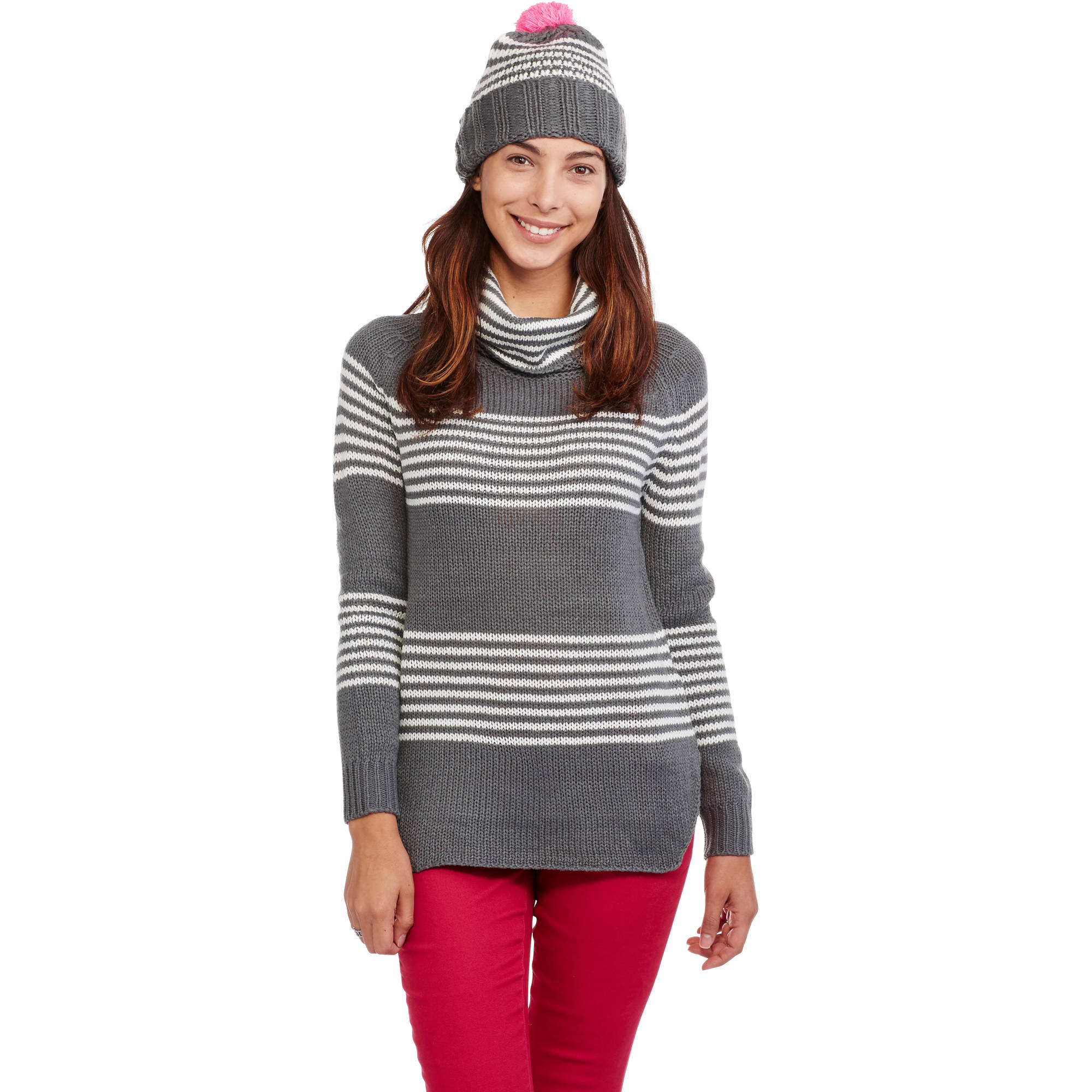 Poof! Juniors' Knit Sweater with Matching Beanie, 2Fer