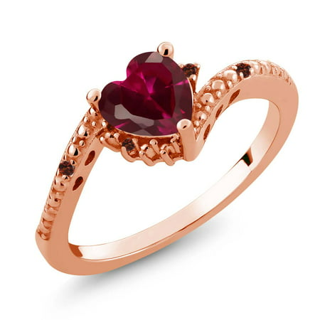 Gold Red Ruby Ring - 0.99 Ct Heart Shape Red Created Ruby Red Garnet 18K Rose Gold Plated Silver Ring