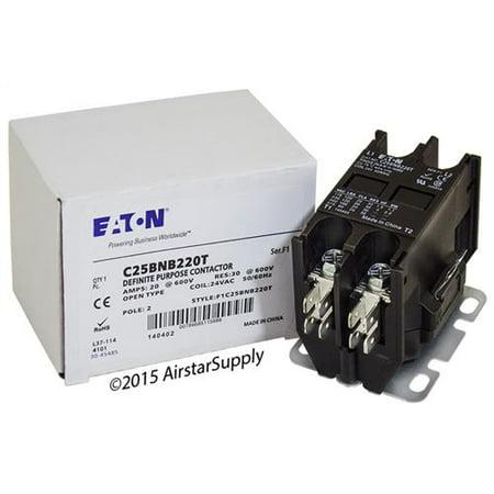 20 Amp / 2 Pole / 24V Coil , Eaton Cutler Hammer C25BNB220T