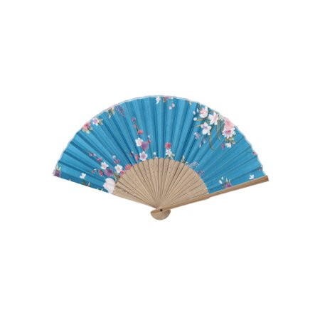 Wood Frame Flower Pattern Oriental Summer Folding Hand Fan Teal Blue Beige](Folding Hand Fan)