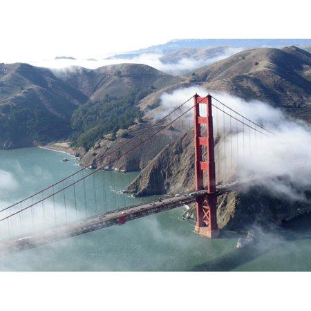 Low Clouds Clearing around the Golden Gate Bridge, San Francisco Bay, California Print Wall Art By Sandra Cannon (Wrap Around Bridge)