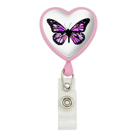 Pink Badge (Butterfly with Flowers Heart Lanyard Retractable Reel Badge ID Card Holder -)