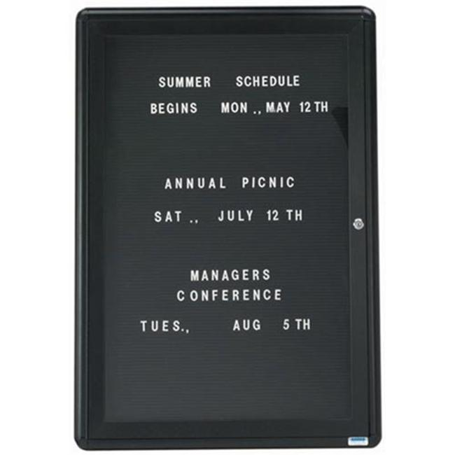 Aarco Products RAD3624BU 1-Door Design Enclosed Letter Board - Graphite
