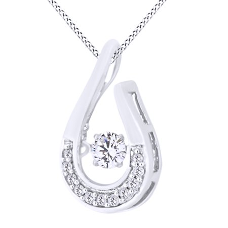 Dancing Round Cut White Natural Diamond Teardrop Pendant Necklace In 10K Solid White Gold (0.2 Ct)By Jewel Zone US