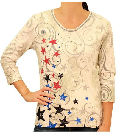 Ladies Patriotic Stars Shirt with Rhinestones