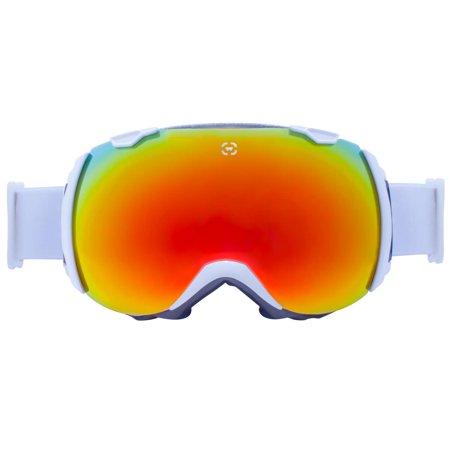 Winterial Globe Goggles | Ski | Snowboard |Snowmobile Goggles All Mountain | UV Protection | White