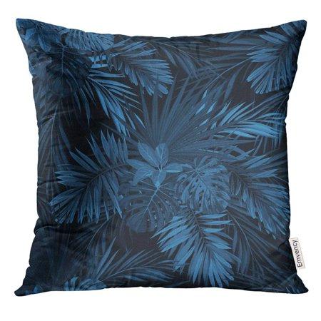 STOAG Abstract Dark Tropical with Jungle Plants Pattern Indigo Blue Phoenix Palm Leaves Aloha Beach Throw Pillowcase Cushion Case Cover 16x16 inch ()