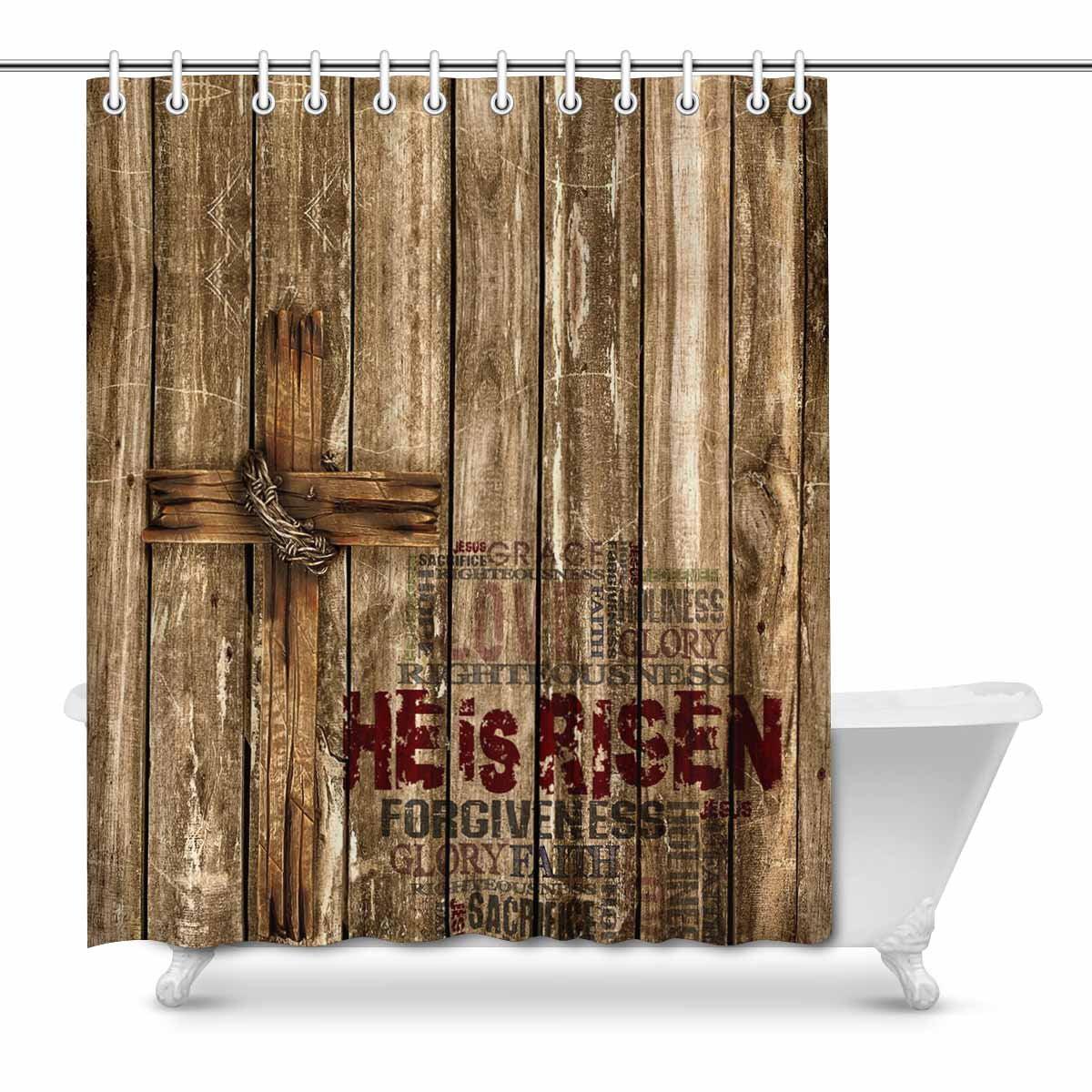 Mkhert He Is Risen Easter With Christian Cross On Wood Design Home Decor Waterproof Polyester Bathroom Shower Curtain Bath 66x72 Inch Walmart Com