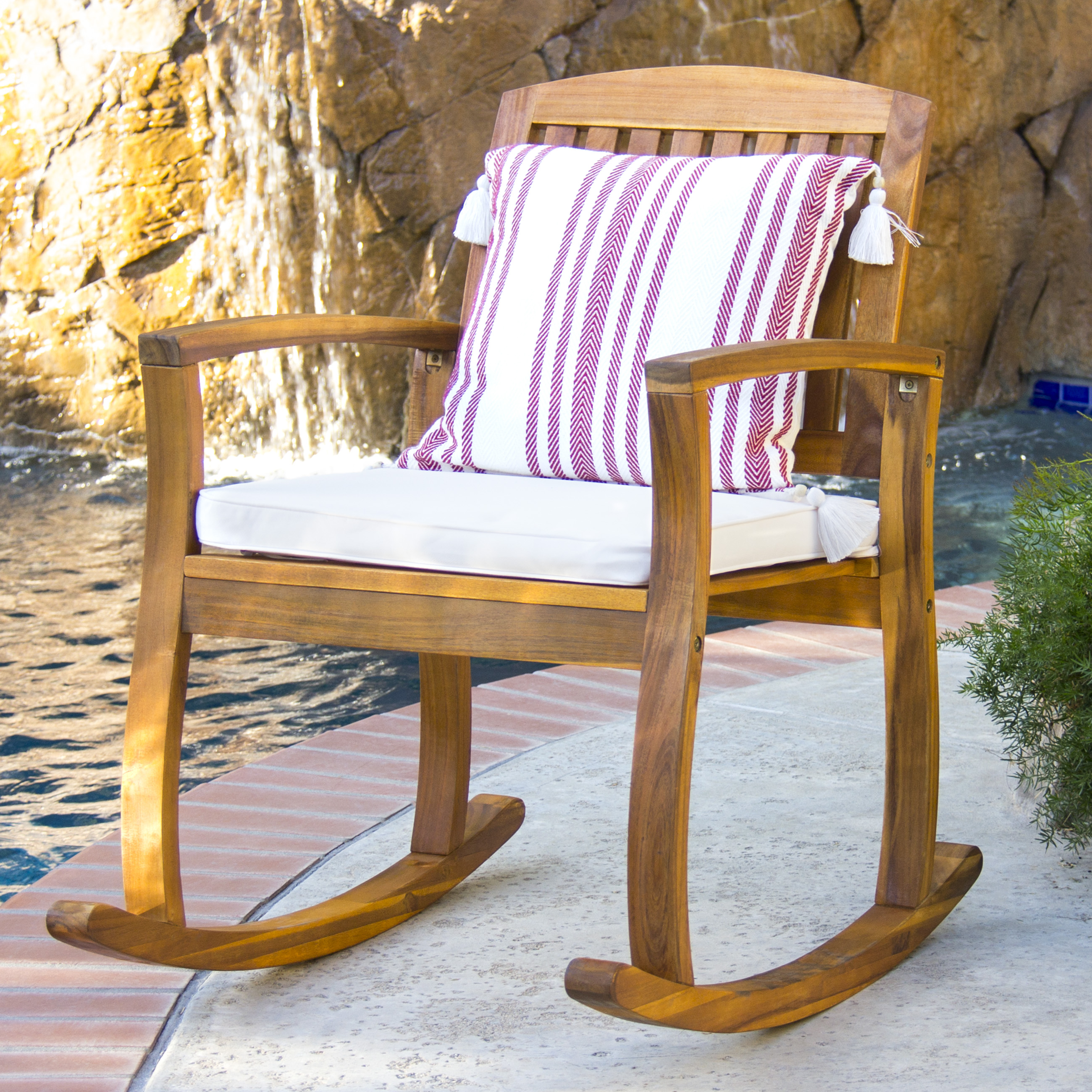 Best Choice Products Outdoor Patio Acacia Wood Rocking Chair W/ Removable  Seat Cushion