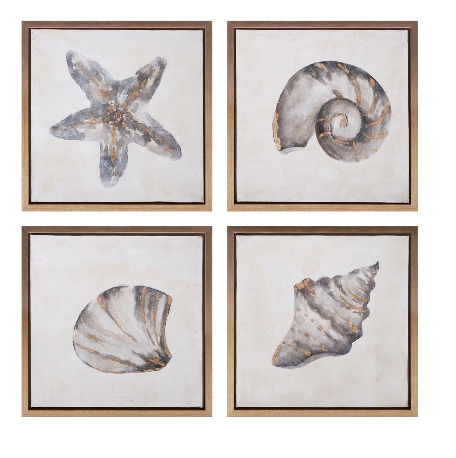 """Set of 4 Under The Sea Framed Decorative Oil Paintings 17.75"""""""