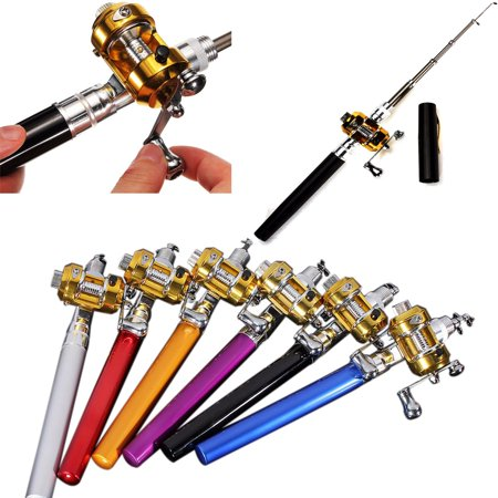 "37.4"" Mini Portable Pocket Fish Pen Shape Aluminum Alloy Fishing Telescopic Rod Pole Reel Combos - Walmart.com"