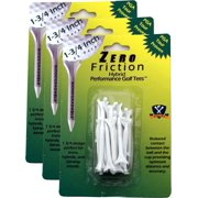 """NEW Zero Friction Hybrid Tees 1¾"""" Plastic 3 Packs of 25/75 Total 3 Prong / 1.75"""""""