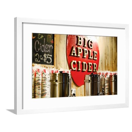 Big Apple Cider for Sale at the Christmas Market in Bryant Park, Framed Print Wall Art By Sabine Jacobs ()