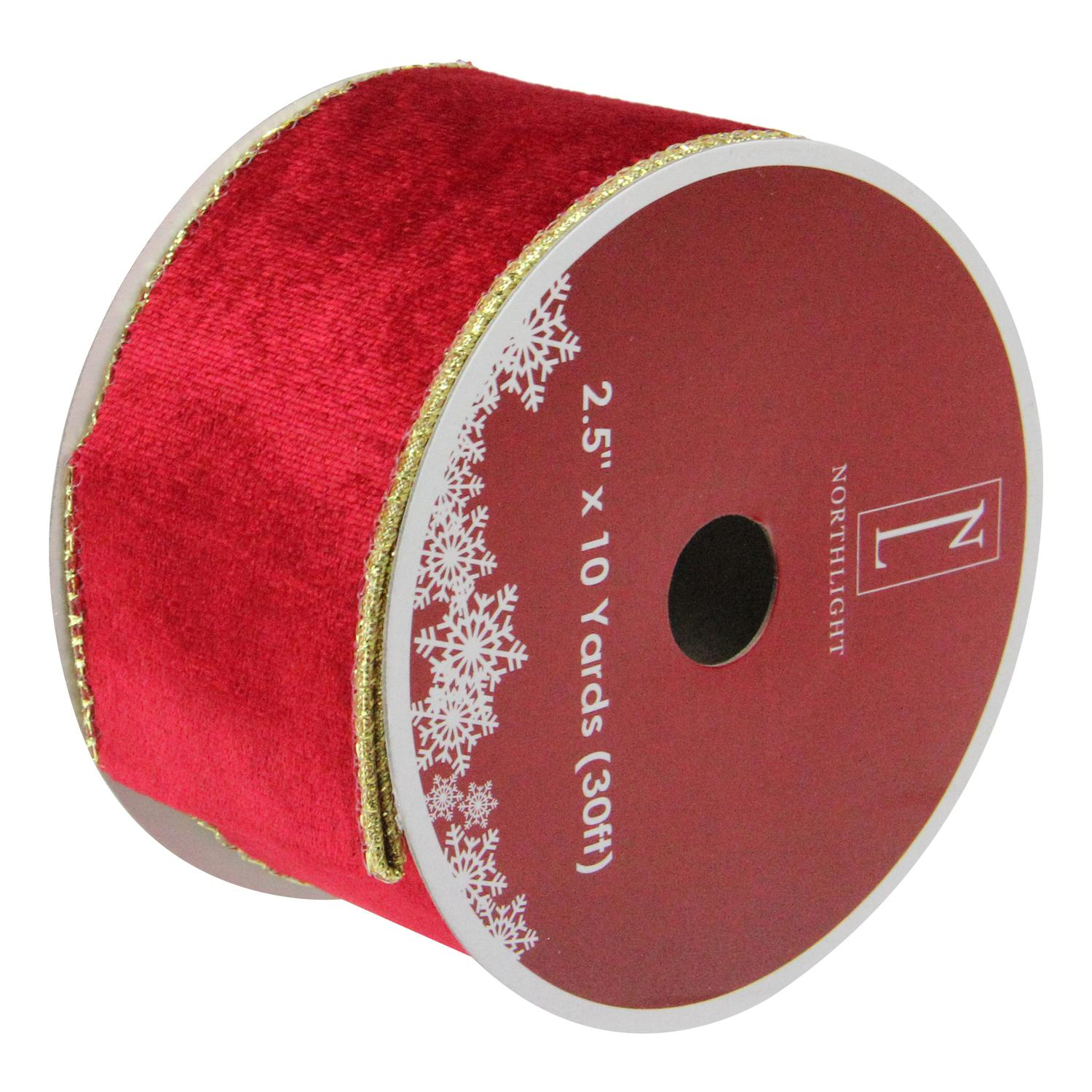"""Pack of 12 Solid Bright Red Wired Christmas Craft Ribbon Spools - 2.5"""" x 120 Yards Total"""