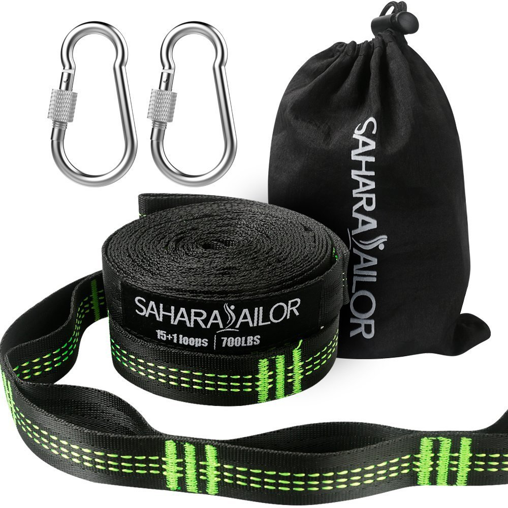 Hammock Straps XL (Set of 2), Sahara Sailor Adjustable Hammock Tree Hanging Straps 1400+ LBS Heavy Duty Non-Stretch Suspension System Kit (2 Stainless Steel Carabiners Included)