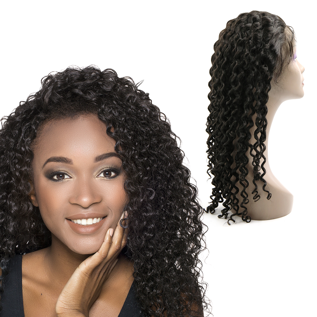 Lace Front Human Hair Wigs Glueless Brazilian Virgin Hair 7A Deep Curly 24""