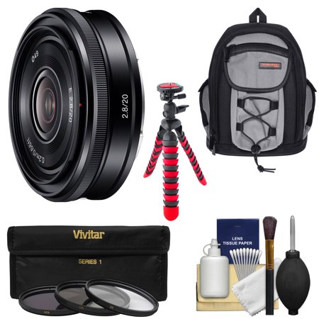Sony Alpha E-Mount 20mm f/2.8 Wide-Angle Pancake Lens with Backpack + 3 Filters + Tripod + Kit for A7, A7R, A7S Mark II, A5100, A6000, A6300