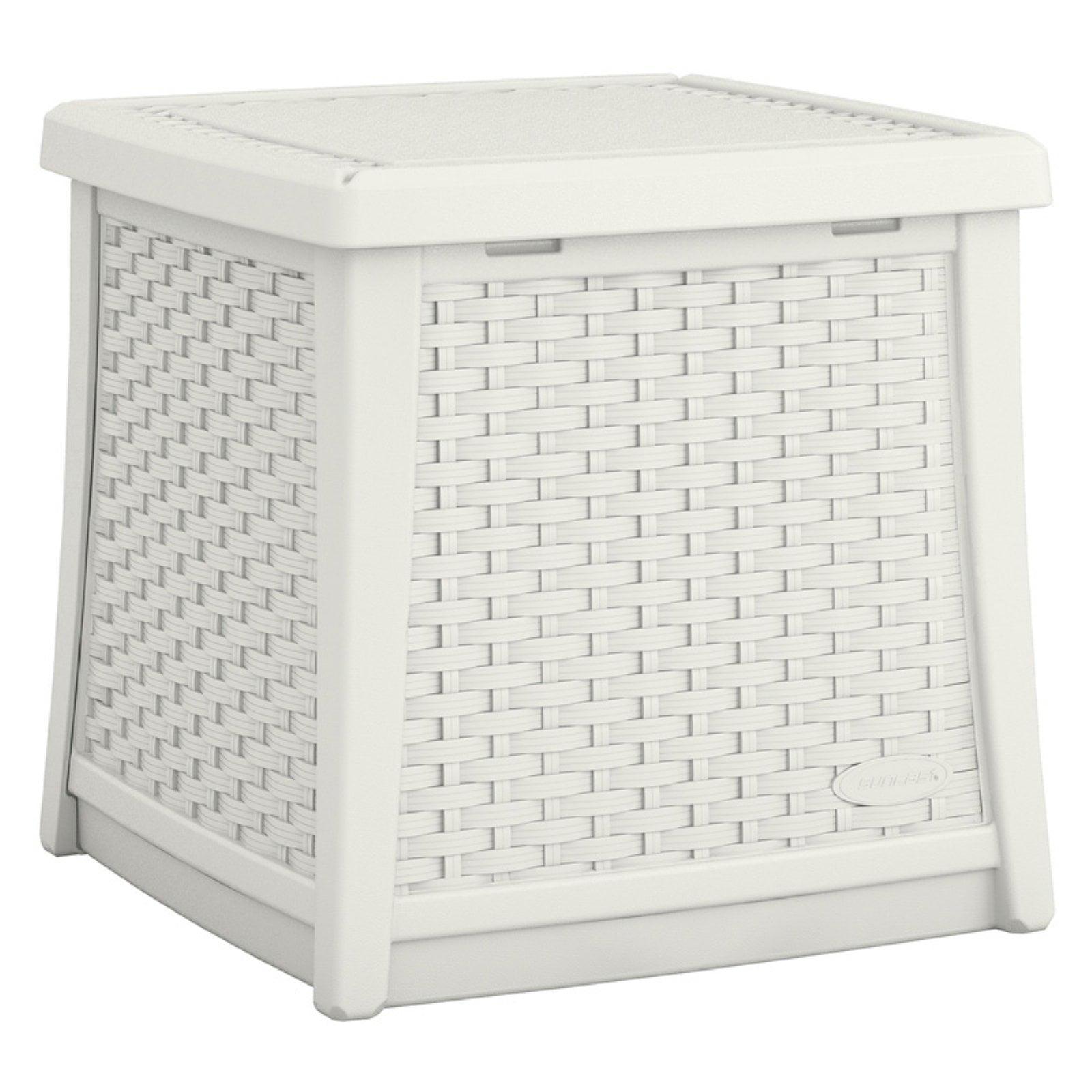 Suncast ELEMENTS End Table with Storage - White, BMDB1310W