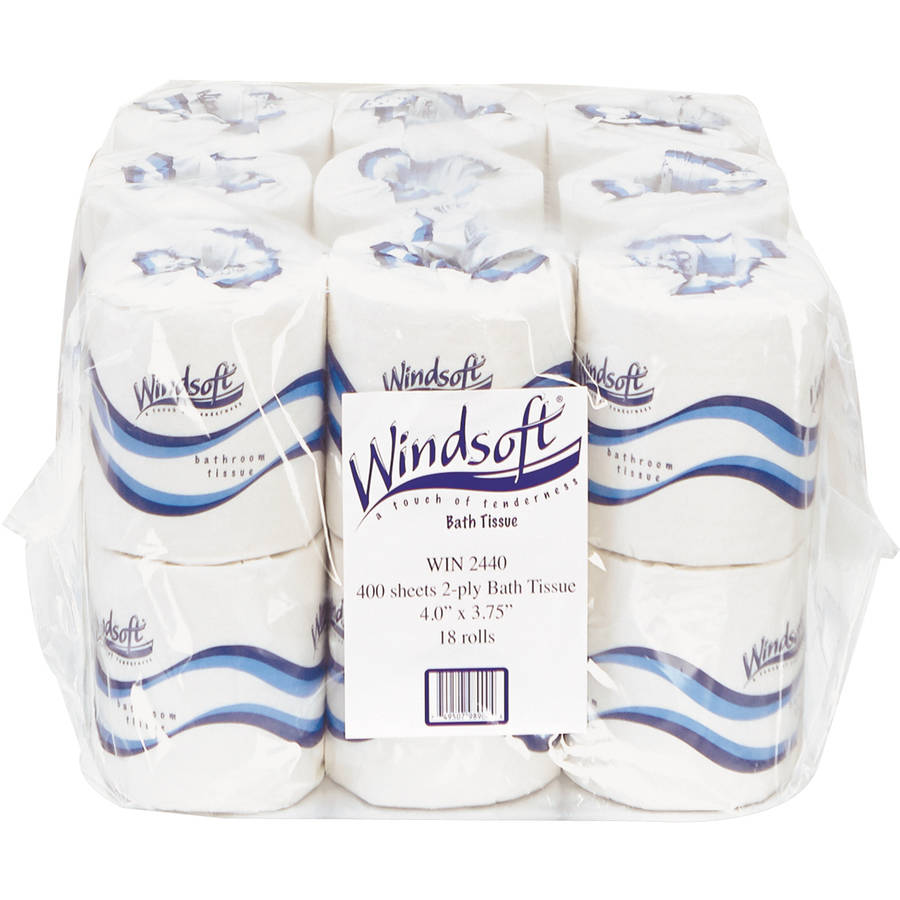 Windsoft Embossed 2-Ply Bathroom Tissue, 400 sheets, 18 rolls