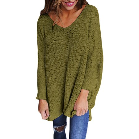 Women's Casual Sexy Solid Color V-neck Sweater European and American Style Loose Plus Size Sweater (American Eagle Outfitters Sweater)