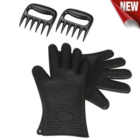 BBQ Barbecue Grill Cooking Gloves - [Heat Resistant] [Non-Slip] [Waterproof] Silicone Smoker Grilling Glove+Pork Meat Shredder Bear