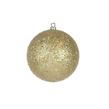 Shatterproof Champagne Gold Holographic Glitter Christmas Ball Ornament 6