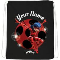 Personalized Miraculous Ladybug Black Drawstring Bag