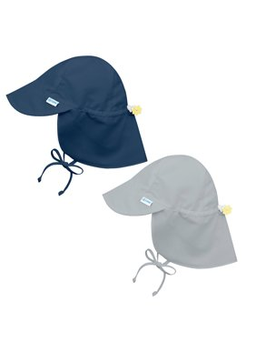 i play Baby and Toddler Flap Sun Protection Hat-Navy and Gray- 2 Pack