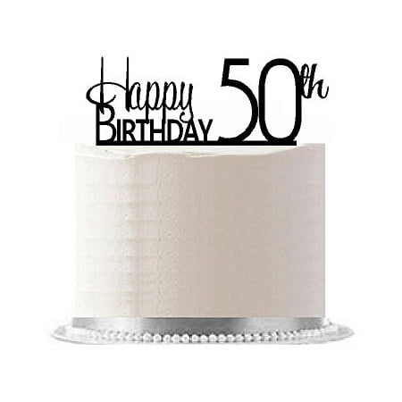 Item#AE-154 Happy 50th Birthday Agemilestone Elegant Cake Topper](Happy Halloween Birthday Cakes)