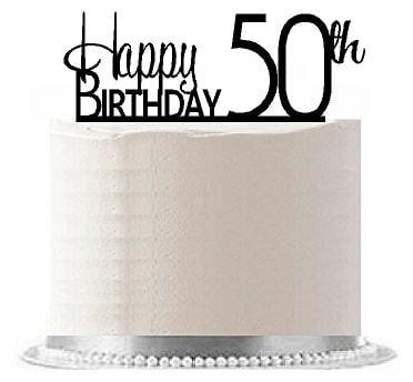 Item#AE-154 Happy 50th Birthday Agemilestone Elegant Cake Topper