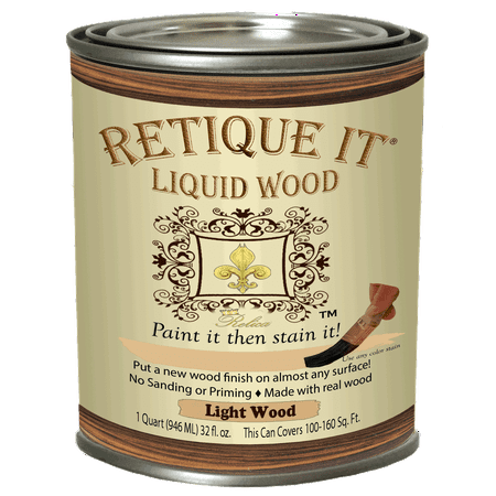Retique It Liquid Wood - Light Wood Quart (32oz) - Paint It Then Stain It - Stainable Wood Fiber Paint - Put a Fresh Coat of Wood On It - Bake On Paint