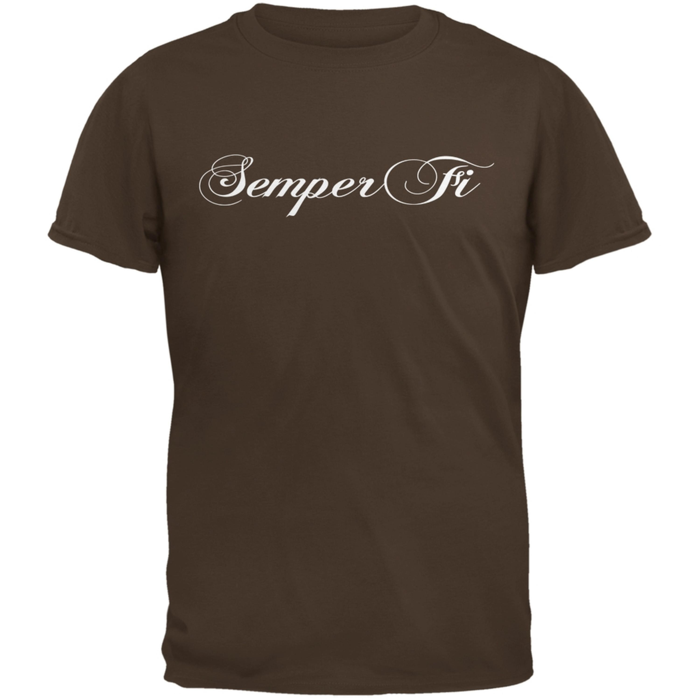 Semper Fi Script Brown Adult T-Shirt