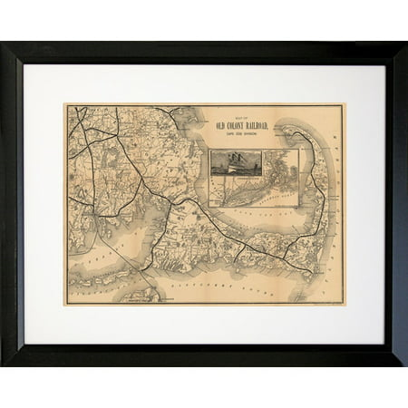 Buy Art For Less 1988 Vintage Old County Railroad Cape Cod Map Framed Graphic Art