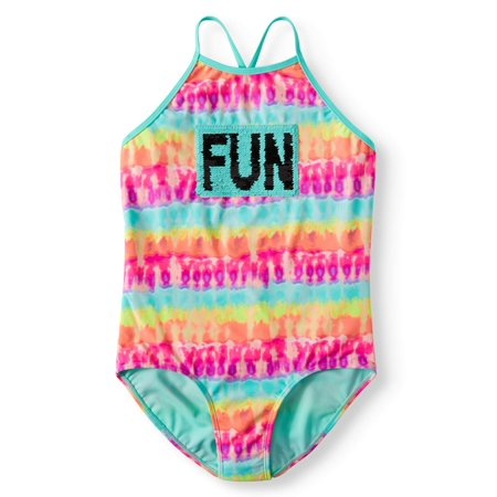 Reversible Flip Sequin Tie-Dye One-Piece Swimsuit (Little Girls, Big Girls & Big Girls Plus) - Swimwear Girls