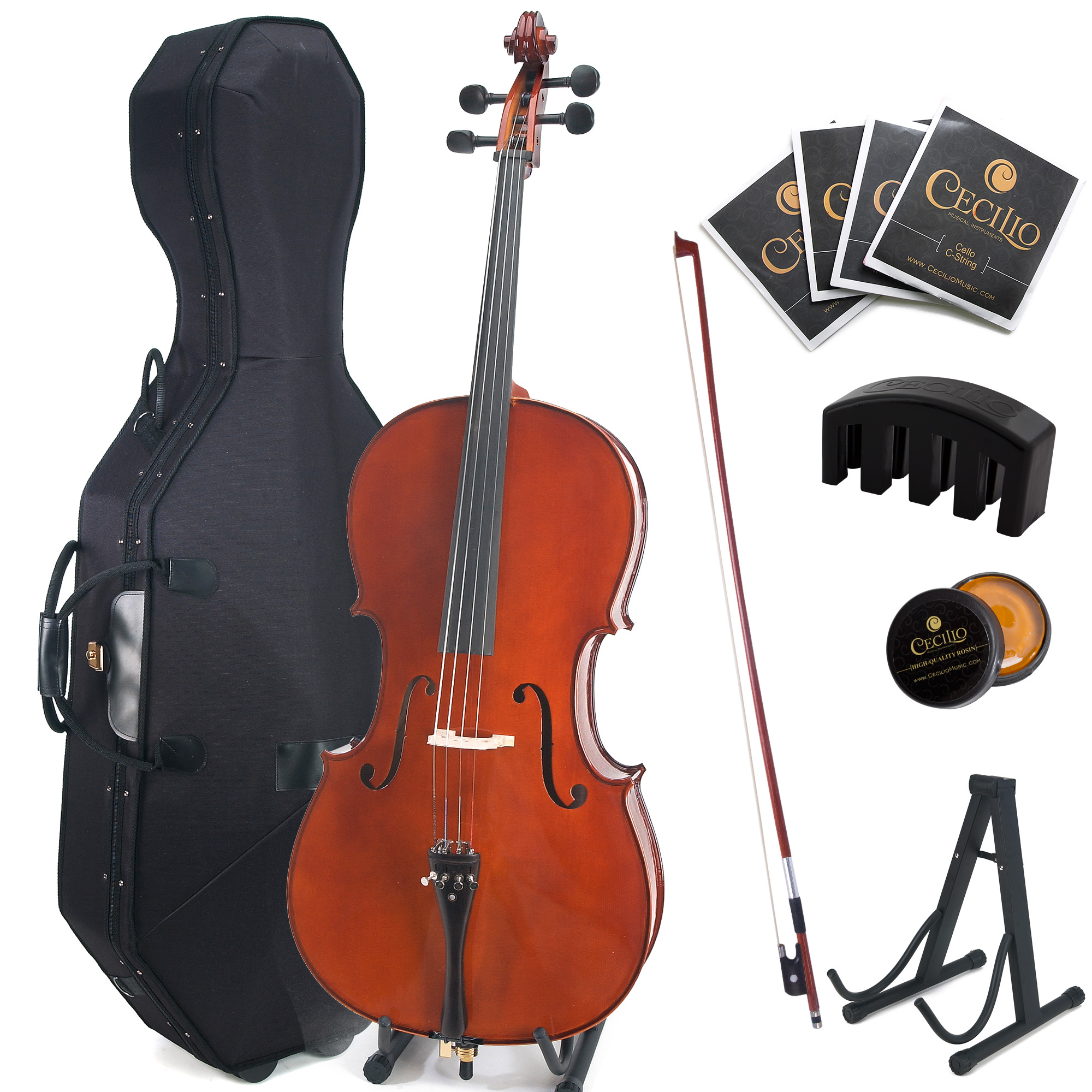 Cecilio CCO-500 Ebony Fitted Flamed Solid Wood Cello with Hard and Soft Case, Cello Stand, Extra Strings, Bow, Rosin, Cello Mute and Bridge, Full Size 4/4