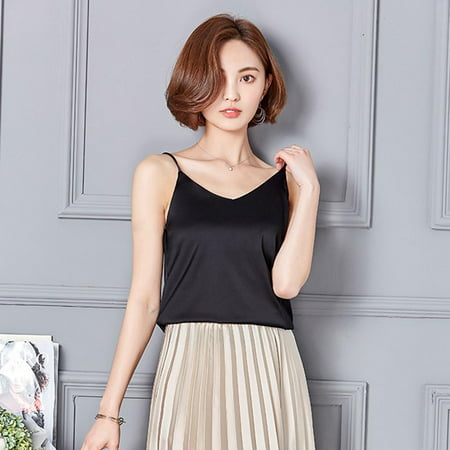 Women Sexy Silk Ladies Camisole Bottom Blouse Shirt Soft Satin Tank Top Crop