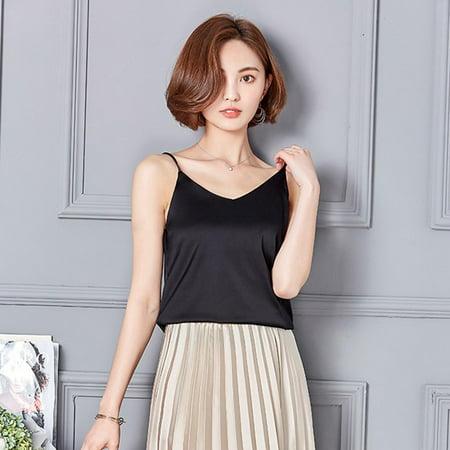Women Sexy Silk Ladies Camisole Bottom Blouse Shirt Soft Satin Tank Top Crop