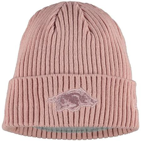 Arkansas Razorbacks New Era Women's Team Glisten Cuffed Knit Hat - Pink - OSFA