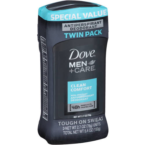 Dove Men+Care Clean Comfort Antiperspirant Deodorant, 2.7 oz, Twin Pack