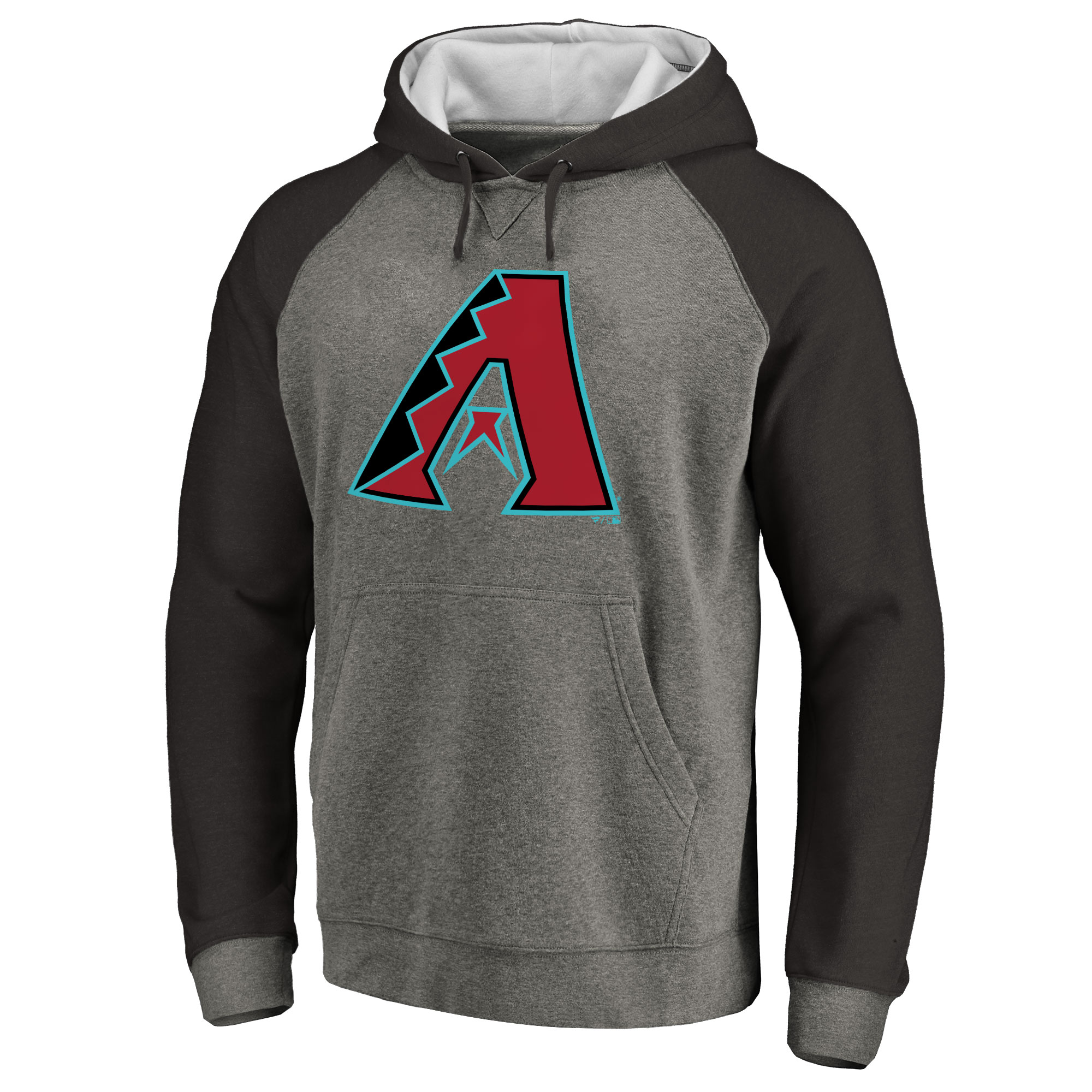 Arizona Diamondbacks Primary Logo Raglan Sleeve Tri-Blend Pullover Hoodie - Ash