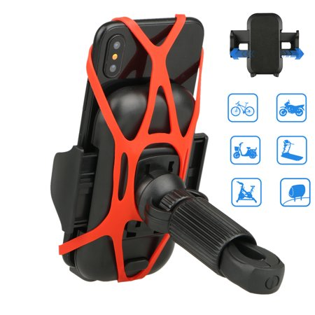 EEEKit Bike Phone Mount, Universal 360 Degree Rotation Bicycle Motorcycle Handlebar Holder with Butterfly Silicone Belt for Smartphones GPS
