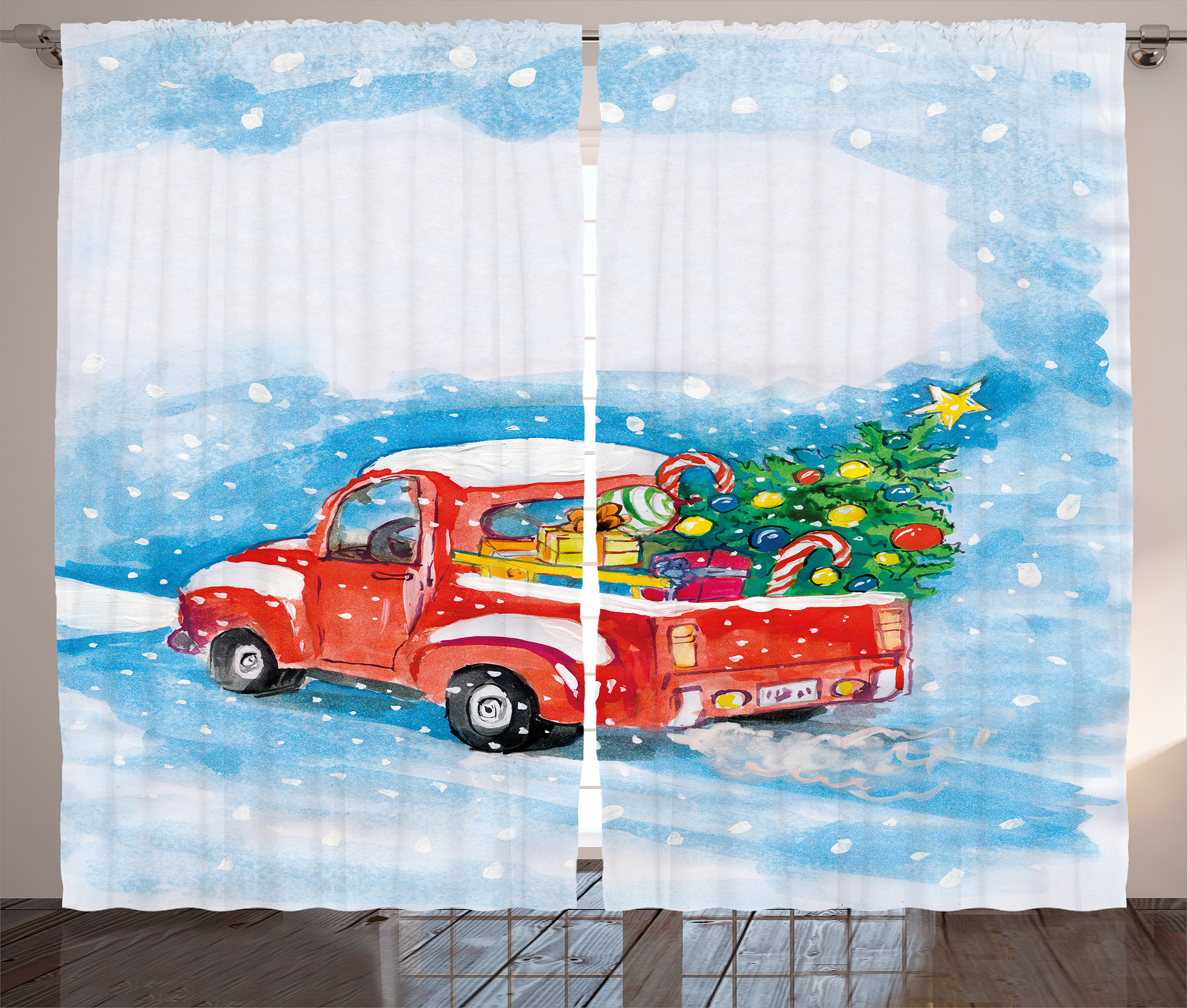 Christmas Curtains 2 Panels Set, Vintage Red Truck In