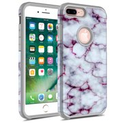 iPhone 7 Plus Case, iPhone 6 / 6S Plus Case, Kaesar Hybrid Dual Layer Shockproof Hard Cover Graphic Fashion Cute Colorful Silicone Skin Case for Apple iPhone 7 Plus - Pluple Marble