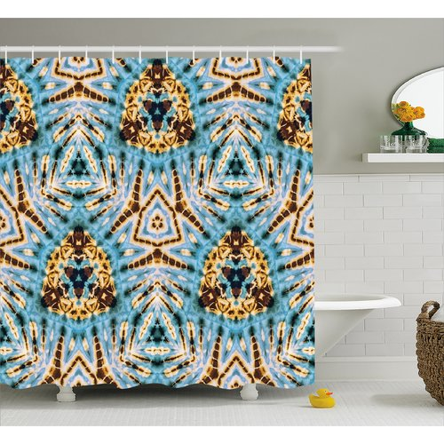 World Menagerie Auchincloss Tie Dye Tribal Stylized Trippy Shapes With Dirt Grungy Paint Reflections Artisan Print Shower Curtain