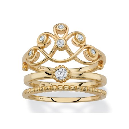 - Round Cubic Zirconia Crown, Solitaire and Beaded 3-Piece Stackable Ring Set in 14k Gold over Sterling Silver