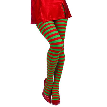 Iuahn Elf Tights Striped Red Green Christmas Fancy Dress Costume Knee Stockings (Red And Green Elf Tights)