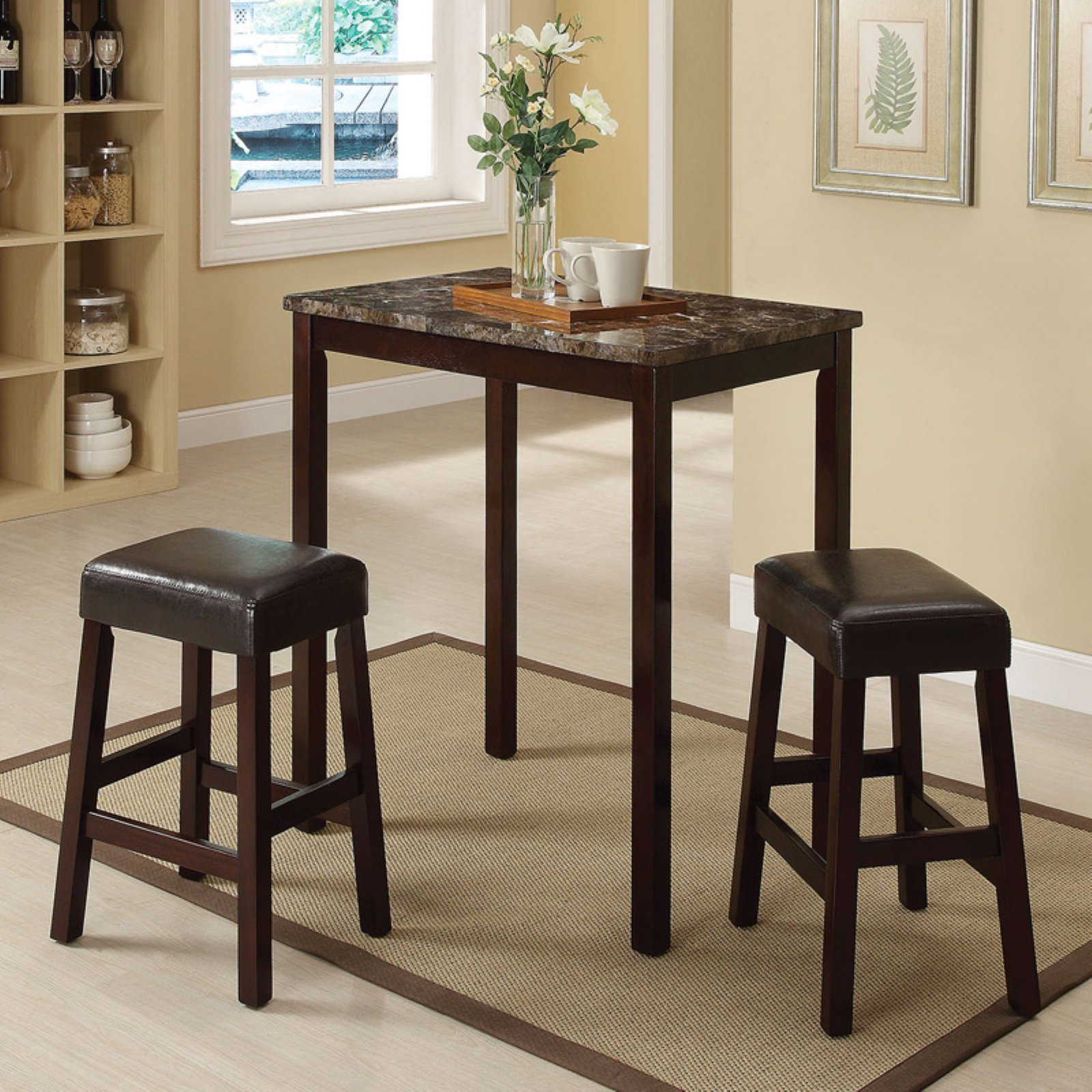 ACME Idris 3-Piece Pack Counter Height Set, Faux Marble & Espresso