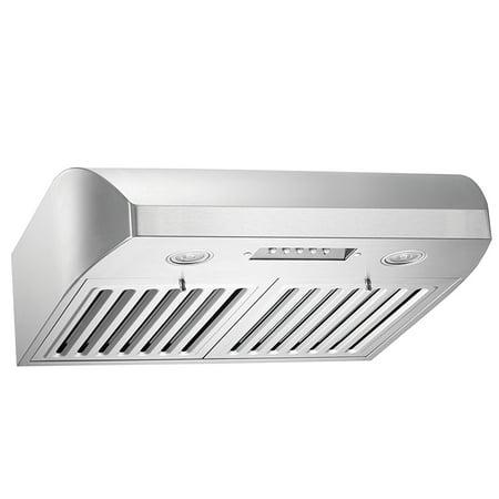 Range Hood Outlet - KOBE CHX2230SQB-1 Brillia 30-inch Under Cabinet Range Hood, 3-Speed, 680 CFM, LED Lights, Baffle Filters